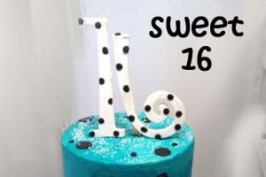 Blue Zebra Striped Sweet 16